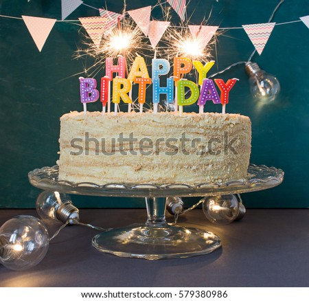 Happy birthday cake sparklers greeting card stock photo edit now happy birthday cake with sparklers greeting card m4hsunfo