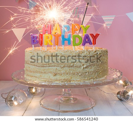 Happy Birthday Cake Sparklers Greeting Card Stock Photo Image