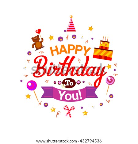 Happy Birthday Card Birthday Cake Gifts Stock Illustration