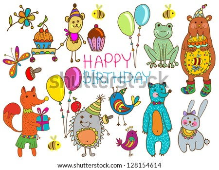 Happy birthday card, funny cartoon set with mouse, fox, bear, wolf, frog, hedgehog and hare - stock photo
