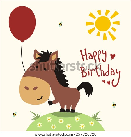 Happy Birthday Card Funny Little Horse Stock Illustration 257728720