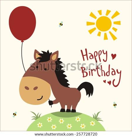 Happy birthday - card funny little horse with balloon, handwritten text - stock photo