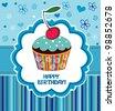 Happy birthday card. Illustration of cute cupcake - stock photo