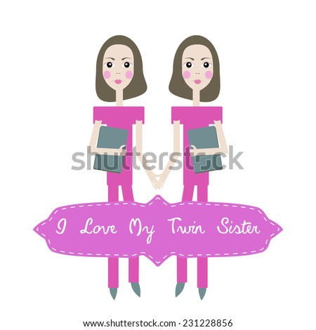 Happy Birthday Card Invitation Background Twins Stock Illustration
