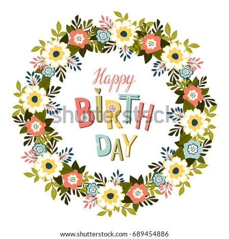 Happy birthday card template floral frame stock illustration happy birthday card template with floral frame jpeg pronofoot35fo Image collections