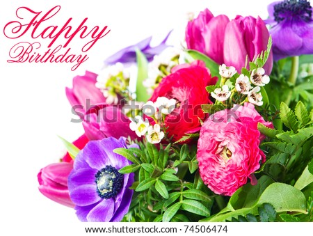 happy birthday card colorful flowers stock photo, Birthday card