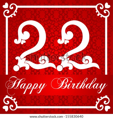 Happy birthday card number twenty two stock illustration 155830640 happy birthday card with number twenty two raster illustration bookmarktalkfo Image collections