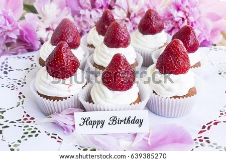 Happy Birthday Card Strawberries Cupcakes On Stock Photo 639385270