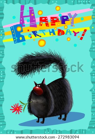 Happy Birthday Funny Black Cat A funny black cat holding a