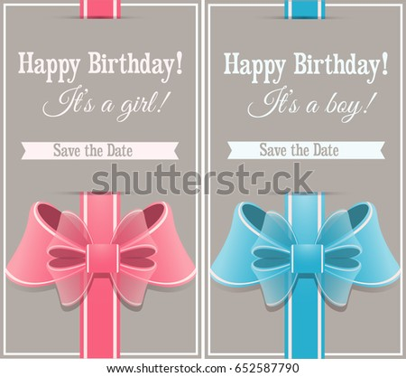Happy Birthday Cards Boys Girls Bows Stock Illustration 652587790