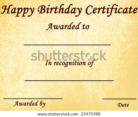 Happy Birthday Certificate Some Stains On Stock Illustration ...