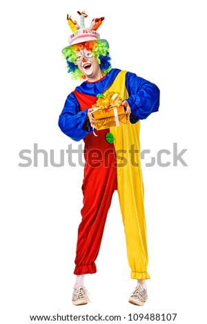 Happy birthday clown with a gift box. Full body isolated