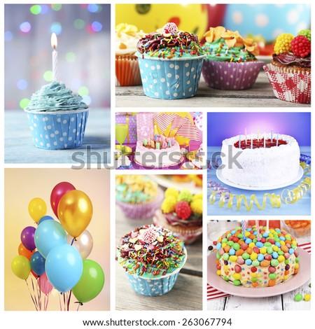 Happy birthday collage - stock photo
