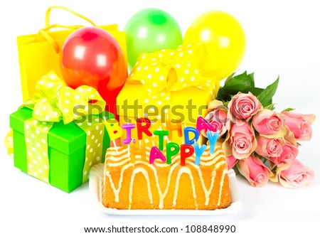 Happy Birthday! colorful party decoration. card concept