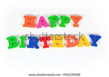 Happy birthday colorful text on a white background