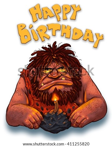 Happy birthday dear. funny illustration of a brutal man with a beard and skin. - stock photo