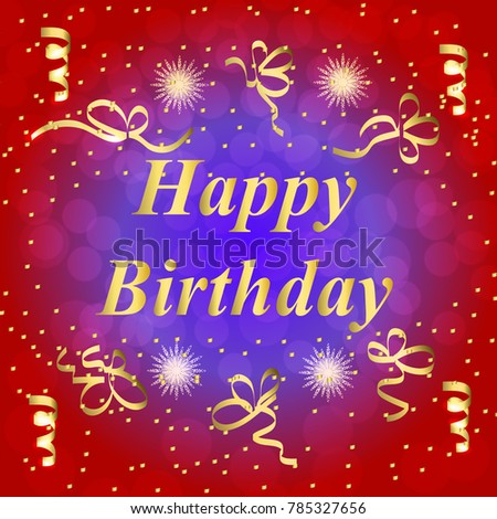 Happy Birthday Greeting Card Brightly Colorful Stock Illustration