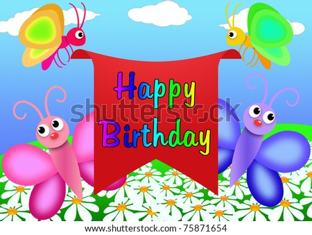 Happy Birthday Greeting Card Draw Cartoon Stock Illustration