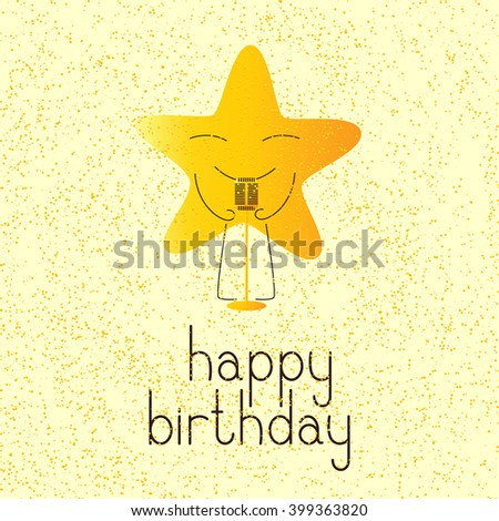 Happy birthday greeting card with golden colored cartoon star character with retro microphone and lettering Happy birthday in English on yellow background and golden dotes - stock photo