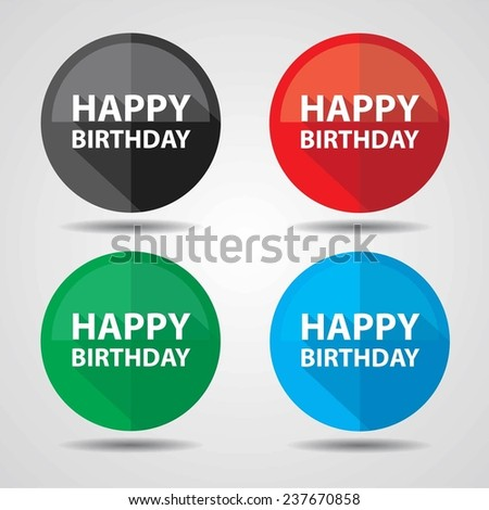 Happy Birthday Greeting on colorful circle shiny, Happy birthday celebrations on white background. - stock photo