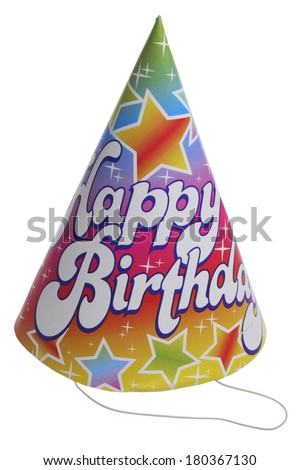Happy Birthday hat on white background  - stock photo