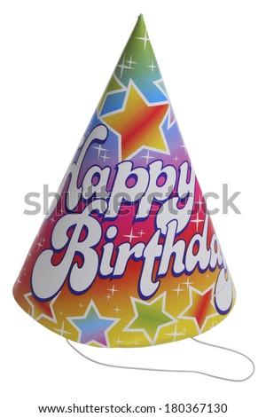 Happy Birthday hat on white background  - stock photo