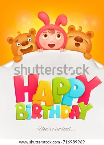 Happy birthday invitation card girl pink em ilustrao stock happy birthday invitation card with girl in pink bunny costume raster illustration stopboris Images