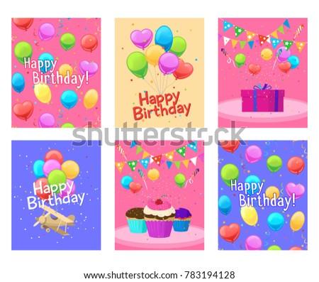 Happy Birthday Invitation Cards Set For Boys And Girls Illustration  Birthday Invitation Pictures
