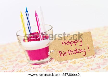 happy birthday - lovely greeting card - stock photo