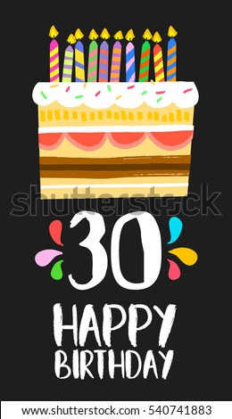 Happy Birthday Number 30 Greeting Card Stock Illustration 540741883