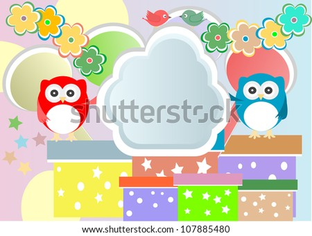 happy birthday party card with cute owl and birds. Raster