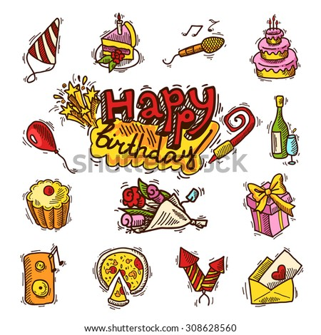 Happy birthday party celebration sketch decorative elements set with cake microphone balloon isolated  illustration - stock photo