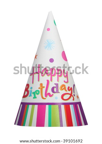 Happy birthday party hat isolated on white background - stock photo