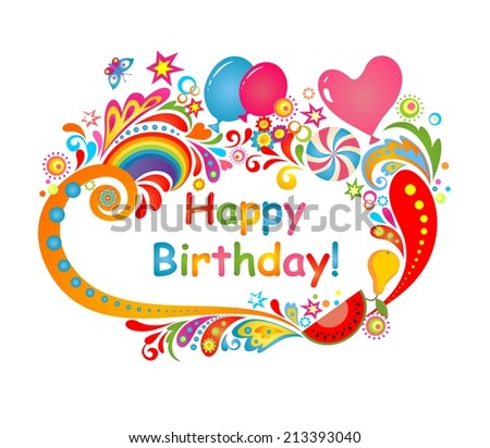 Happy birthday. Raster copy - stock photo