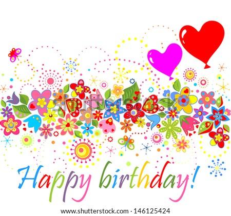 Happy birthday! Raster copy of vector image - stock photo