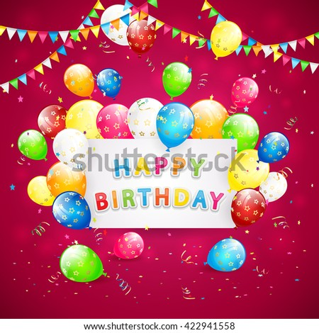 Happy Birthday red background with holiday card, pennants, flying colorful balloons, tinsel and confetti, illustration. - stock photo