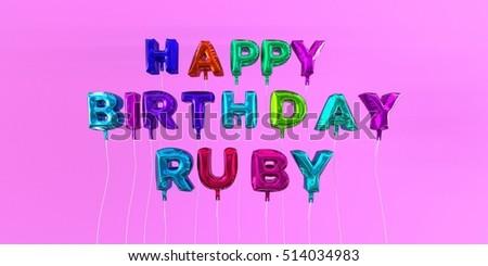 Happy birthday ruby card balloon text stock illustration