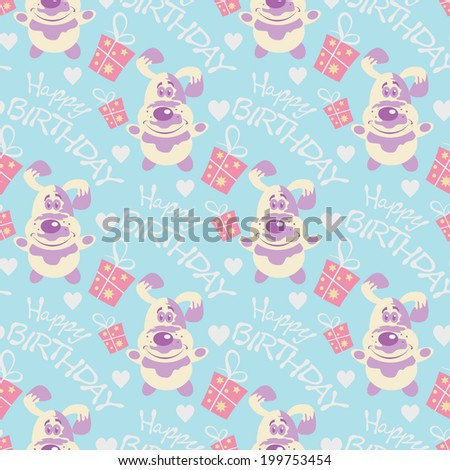 Happy Birthday seamless pattern texture background paper for packing gifts