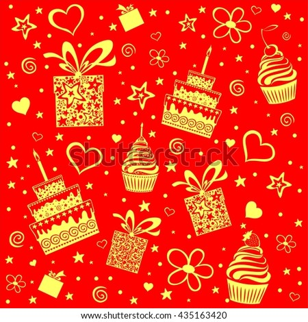 Happy birthday. Seamless wrapping paper.  Illustration  - stock photo
