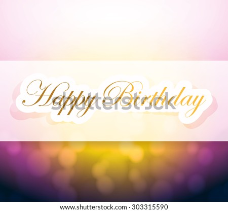 happy birthday sign and lights illustration design background - stock photo