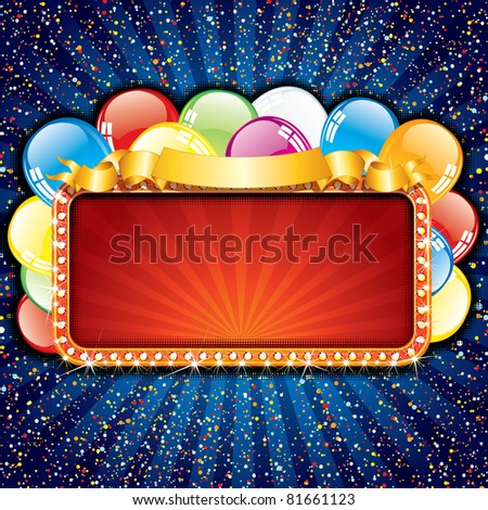 Happy Birthday Sign with Colorful Balloons and Copy Space - stock photo