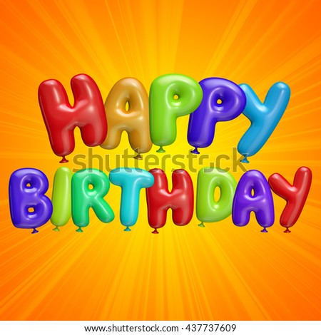 happy birthday text colored balloons template stock illustration