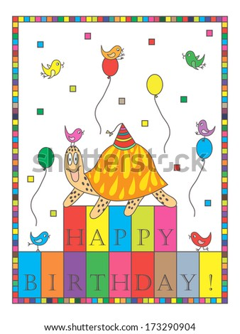 Happy Birthday! Turtle. Birthday card with tortoise and birds. Colorful birthday card. Greeting card. Festive postcard.
