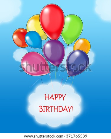 Happy Birthday Wishes Greeting Card Colorful Stock Illustration
