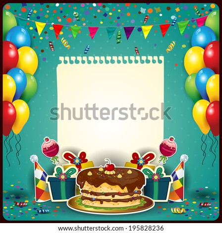 Happy birthday sheet paper balloons cakespace stock illustration happy birthday with a sheet of paper with balloons and cake space to insert your m4hsunfo