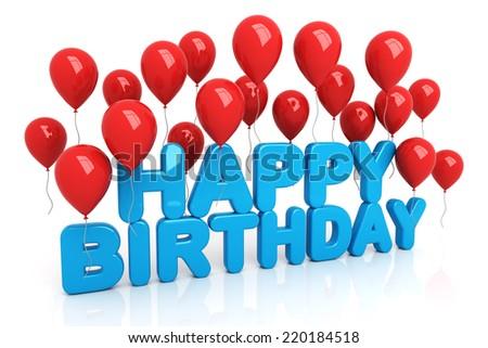 Happy Birthday with balloons - stock photo
