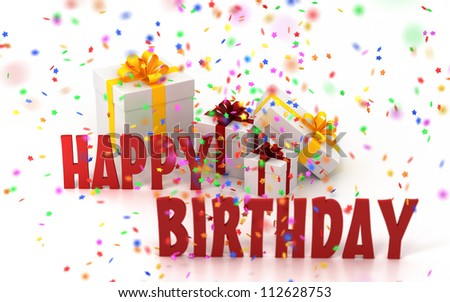 Happy birthday confetti gift box 112628753 shutterstock happy birthday with confetti and gift box negle Image collections