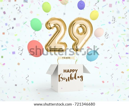 Happy birthday 29 years anniversary joy stock illustration happy birthday 29 years anniversary joy celebration 3d illustration with brilliant gold balloons delight bookmarktalkfo Images