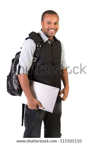 Happy Black African American College Student Working on Touch Screen Tablet PC - stock photo