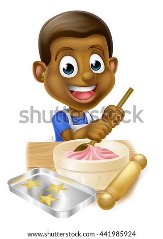 Happy black boy playing at being a baker stirring cake mix in a bowl - stock photo